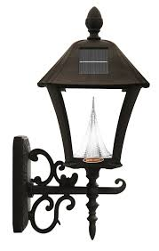 gama sonic baytown solar outdoor led light fixture pole post wall
