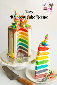 Easy Rainbow Cake Recipe Seven Rainbow Layer Cake Veena Azmanov