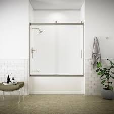 semi frameless sliding tub door in