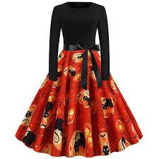 Amazon Com Sporttin Womens Halloween Vintage Dress Black