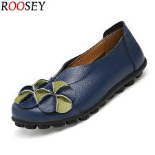 dress shoes roosey women s leather loafers casual round toe slip on moccasins soft comfort driving walking with flower deco