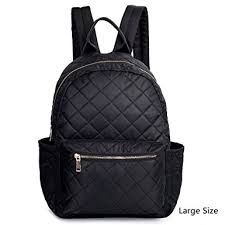 Amazon.com | Women Backpack Black Nylon Daypack Purse Quilted ... & Women Backpack Black Nylon Daypack Purse Quilted Rucksack Girl, Large Size Adamdwight.com