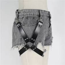 hot deal us 28 32 for uyee pastel goth pu leather garter belt waist straps harness thigh leg harness suspenders for jeans pants men accessories lp 044
