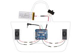 circuit diagram boombox beach bag audio amp and speakers beach bag wiring