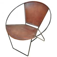 aged leather metal round tub cafe chair zoom