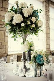 Simple Elegant Wedding Decor Elegant Wedding Reception Centerpieces Ivory Hydrangeas Teal
