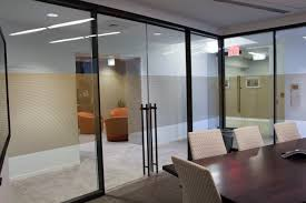 glass door for office. Refine Double Glazed Walls With Frameless Sliding Door Done In Bronze. Infinium Wall Systems Glass For Office