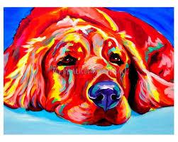 colorful pet portrait golden retriever dog art print 8x10 by alicia vannoy call 14 00