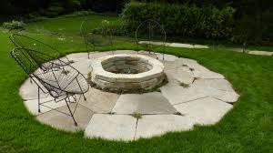 flagstone patio with fire pit. A Little More Permanent Than Gravel Seating Area \u2013 Here\u0027s Tight Jointed Flagstone Patio With Dry Stacked Stone Fire Pit. Love The Chairs!! Pit