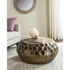 Antique Brass Honeycomb Design Coffee Table