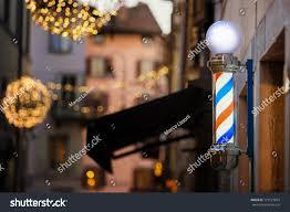 Barber Shop Pole Christmas Lights Udine Stock Photo Edit