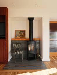 Tiled Hearth Designs For Wood Stoves Modern Inglenook Pratt Larson Brownstone Tile Modern