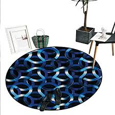dark blue round area rug curvy shaped entangled complex industrial modern mesh machinery concept circle rugs living room 43 diameter blue dark blue