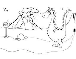 Kleurplaat Dinosaurus Bij Een Vulkaan