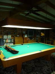 Classic Garage Ideas With Rectangular White Shades Pool Table