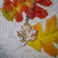 details about gold sugar maple leaf necklace jewelry gold rhinestone autumn leaf jewelry