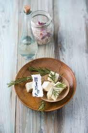bathpralines with herbs in bowl rosemary eucalyptus and pine bath salt and rosewater