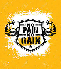 No Pain No Gain Gym Workout Motivation Quote Vector Concept