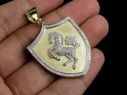 men s 10k yellow gold finish diamond ferrari horse shield pendant charm 1 50 ct
