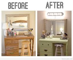before and after picture of diy makeup vanity table with painting finish