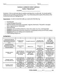weather current event rubric by karp s science stuff tpt weather current event rubric