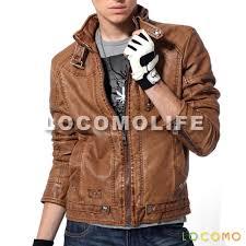 men faux leather motorcycle biker jacket light brown m