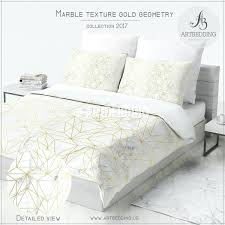 marble and gold geometry duvet cover white natural metallic art print bedding ideal home chevron set