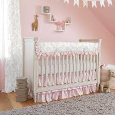 french gray and pink damask crib bedding