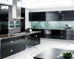 white modern kitchen. Kitchen : Luxury Black Decor With Modern Cabinet And White Ceramic Floor Also Stainless Steel Cook Hood Plus Marble