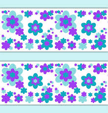 fl girl border decals wall art room decor flower print pattern wallpaper border aqua