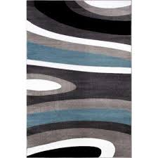 abstract contemporary modern blue 8 ft x 10 ft indoor area rug