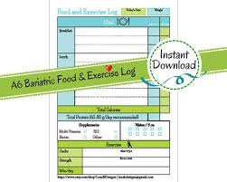 Food And Exercise Trackers A6 Printable Planner Page Bariatric Surgery Daily Food Exercise Tracker Weight Loss Journal Diet Log Diary Exercise Tracker Instant Download