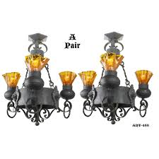 gothic antique black wrought iron chandeliers w lion heads pair ant 488 for