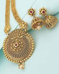 designer necklace sets golden long necklace set with red stone voylla