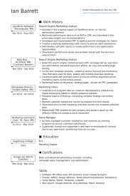 Search Engine Marketing Analyst Resume samples