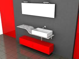 3d model of red red bathroom vanity with glass top and white porcelain vessel sink available 3d file format max autodesk 3ds max