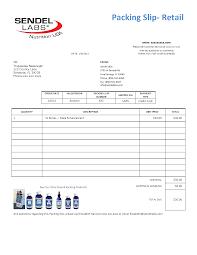 Sendel Labs Packing Slip Retail Ej Consulting