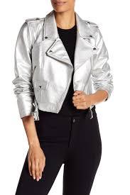 image of sebby metallic moto faux leather jacket