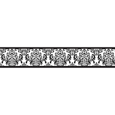 black and white damask girls sloane collection childrens kids modern wall borders paper border home decor