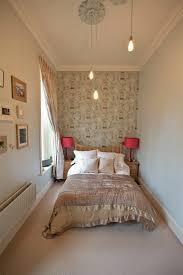Bedroom Setting Up Wall Wallpaper Tendril Pattern Bedspread Silk