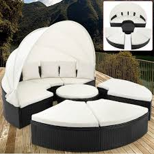 Round Outdoor Bed Outdoor Wicker Daybed Lounger Rattan Day Bed Garden Furniture Sun