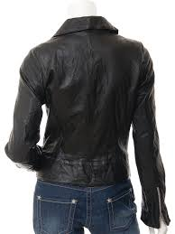 women s black leather biker jacket montreal back