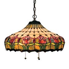 meyda tiffany colonial tulip mahogany bronze traditional stained glass teardrop pendant