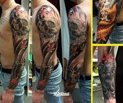 фото татуировки рукав в стиле япония татуировки на руке