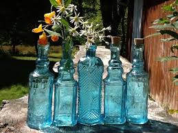 5 blue bottles 6 5 inch tall 4 oz 120ml 6 5 inches tall corks glass bottle collection vintage wedding decor blue vases bud vases 2725600 weddbook