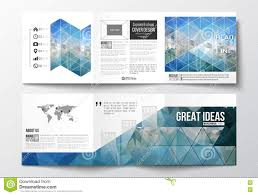 Set Of Tri Fold Brochures Square Design Templates Abstract Blue