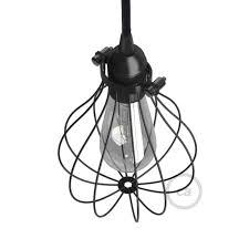 light bulb cage lampshade drop black colored metal adjule collar closure