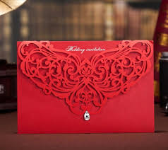 Wedding Ceremony Card Red Delicate Laser Cut Customized Invitation Card For Wedding Party