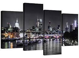 <b>Canvas Wall Art</b> of London Skyline for your Living Room - <b>4 Panel</b> ...