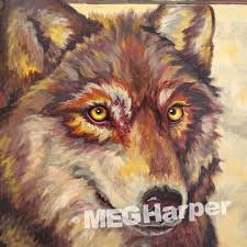 Hope ~ Wolf Painting on Reclaimed Materials ~ Meg Harper Arts ~